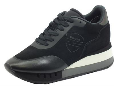 Articolo Blauer USA Charlotte08 Black Sneakers per Donna in scamosciato nero zeppa alta