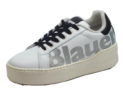 Blauer USA Madeline 03 White Sneakers Donna in pelle zeppa alta