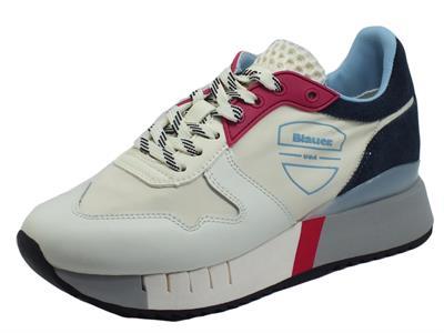 Articolo Blauer USA Myrtle02 White Red Navy Sneakers per Donna in nabuk, pelle e tessuto zeppa interna