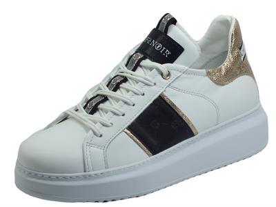 Articolo CafèNoir DE1350 Bianco Nero Sneakers Eleganti per Donna pelle bianca fregio nero con zeppa alta