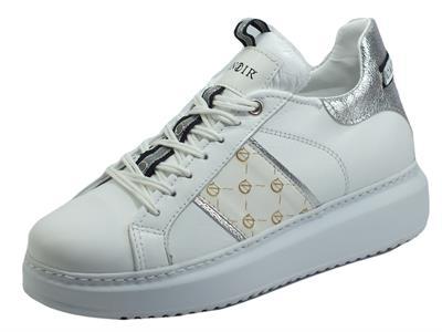 CafèNoir DE1350 Bianco Sneakers Eleganti per Donna in pelle bianca con zeppa alta