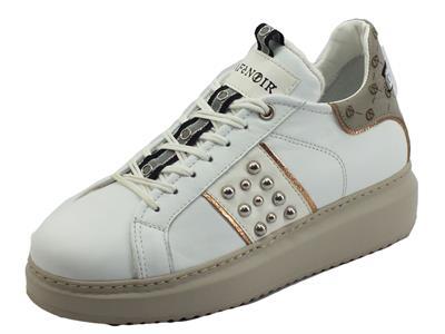 CafèNOIR DE1410 Bianco Tortora Sneakers per Donna in pelle zeppa media