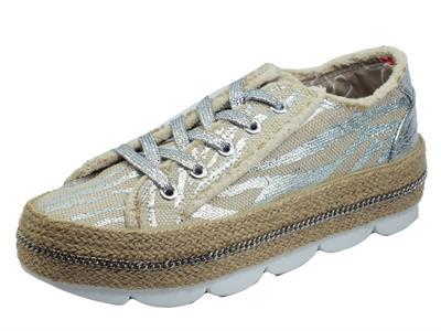 CafèNOIR DG9550 Bianco Argento Sneakers per Donna tessuto effetto corda e zeppa in corda