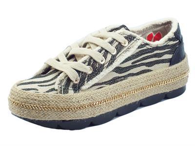 Articolo CafèNoir DG9550 Nero Sneakers per Donna in nabuk tessuto effetto corda zeppa bassa in corda