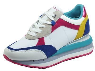 Articolo CafèNoir DN1420 Multi Fuxia Sneakers Sportive per Donna in pelle bianca e nabuk multicolore fuxia