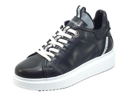 CAFèNOIR FDE121 010 Nero Sneakers Donna in pelle con zeppa
