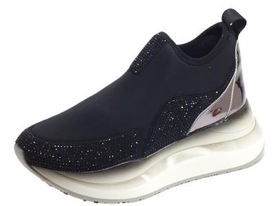 Articolo CafèNoir GDG907 Nero Sneakers Donna in tessuto elasticizzato nero con brillantini neri zeppa alta