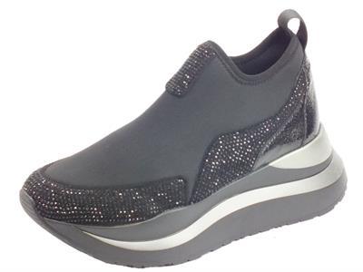 Articolo CafèNoir HDC985 101 Nero Sneakers Donna tessuto elasticizzato zeppa alta