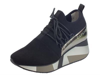 CafèNoir HDH956 010 Nero Sneakers Donna in tessuto nero zeppa alta