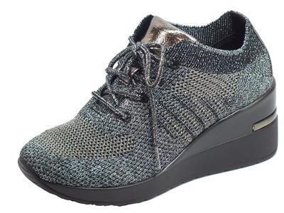 Cinzia Soft MH616530 Black/Dk.Grey Sneakers per Donna in tessuto nero ed argento zeppa alta