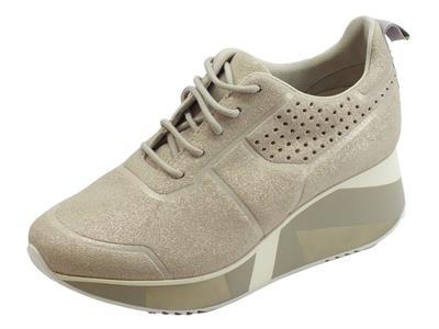 Articolo Cafènoir sneakers per donna in elasticizzato argento brillantinato zeppa alta