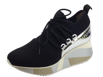 Articolo Cafènoir sneakers per donna in elasticizzato nero zeppa alta