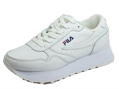 Articolo Fila 1010311.1FG Orbit Zeppa L Wmn White Sneakers Donna in ecopelle bianca con lacci zeppa alta