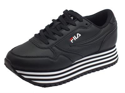 Articolo Fila 1010667.11W Orbit Zeppa Stripe Wmn Black Sneakers Donna ecopelle nera lacci zeppa alta