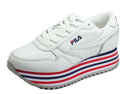 Fila 1010667.02P Orbit Zeppa Stripe Wmn White Sneakers Donna ecopelle bianca lacci zeppa alta