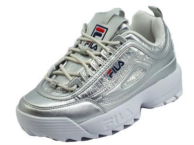 Fila Disruptor F Low Silver Sneakers sportive Donna in ecopelle zeppa bassa