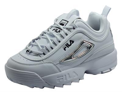 Articolo Fila Disruptor M WMV White Silver Sneakers Sportive per Donna in ecopelle bianca