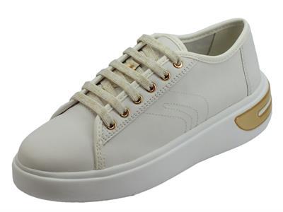 Articolo Geox D Ottaya sneakers sportive donna in nappa bianca zeppa bassa bombata