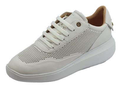 Geox D Rubidia sneakers donna in nappa traforata bianca zeppa media bombata
