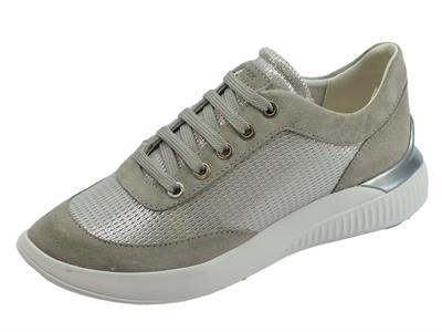 Articolo Geox D Theragon sneakers donna in camoscio e tessuto argento grigio zeppa bassa