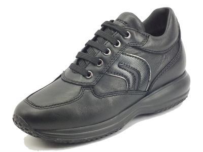 Articolo Geox D1662B Happy Black Sneakers per Donna in Pelle nera