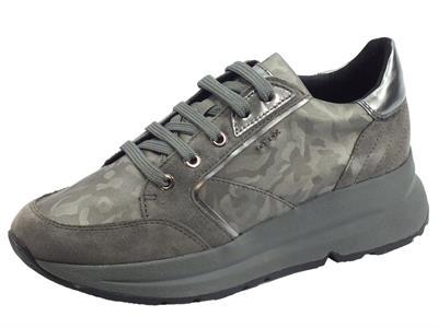 Articolo Geox D94FLA Backsie Gun Dk Grey Sneakers Donna in camoscio e tessuto zeppa alta