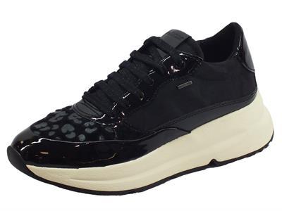Geox D94FPB Backsie Black Sneakers Donna in tessuto, eco-cavallina leopardata e vernice
