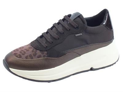 Articolo Geox D94FPB Backsie DK Coffee Sneakers Donna in tessuto, eco-cavallina leopardata e vernice