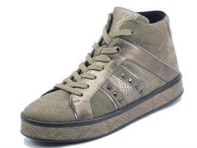 Articolo Geox Leelù D16FFB Dk Beige Sneakers per Donna in pelle e camoscio con lampo e lacci
