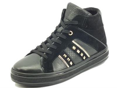 Articolo Geox Leelù D16FFB Dk Black Sneakers per Donna in pelle e camoscio con lampo e lacci