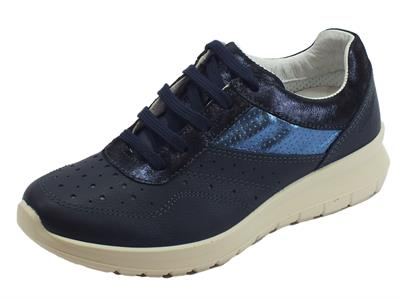 Grisport Active sneakers donna in pelle blu con zeppa media fondo antistatico