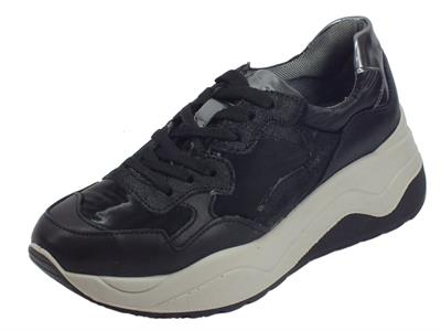 Igi&Co 4149311 Nap. So Nyl. Stel Nero Sneakers donna in pelle e sintetico nero zeppa media
