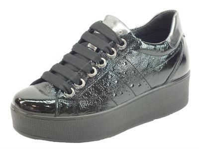 Articolo Igi&Co 4152200 Vernice Naplak Nero Sneakers per Donna in naplak con zeppa alta