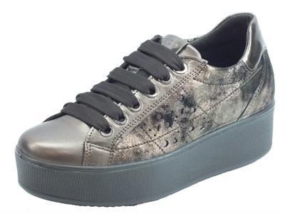 Articolo Igi&Co 4152244 Cap. Lam Cap Sneakers donna in pelle bronzo spazzolato nero con zeppa