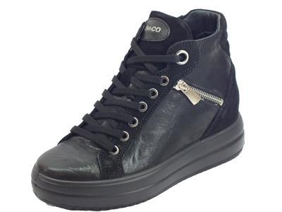 Articolo Igi&Co 4154300 Capra Me. Parker Nero Sneakers Donna in pelle nera lacci e lampo