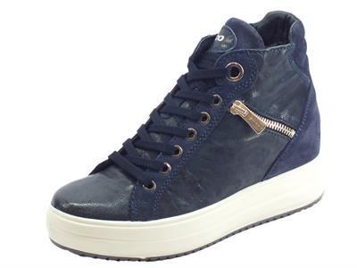 Articolo Igi&Co 4154311 Capra Me Parker Nott Sneakers donna in pelle blu con zeppa interna