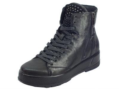 Articolo Igi&Co 4169800 Capra Me. Parker Nero Sneakers Donna in pelle nera lacci e lampo