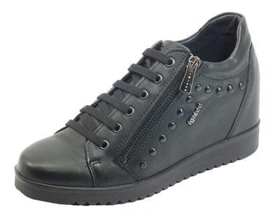Articolo Igi&Co 6154900 Nappa Foulard Nero Sneakers con zeppa per Donna con lampo e lacci