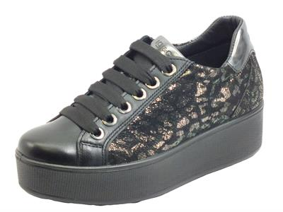 Articolo Igi&Co 6163200 Cap. Lam. Cap. Leo. Nero sneakers Donna in pelle leopardata nera