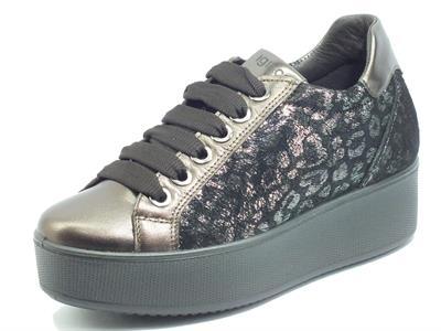 Articolo Igi&Co 6163211 Cap. Lam. Cap. Leo. T. Moro Sneakers Donna in pelle leopardata testa di moro