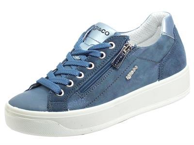 Articolo Igi&Co 7156222 Nappa Foulard Jeans Sneakers per Donna in pelle satinata con lacci e lampo