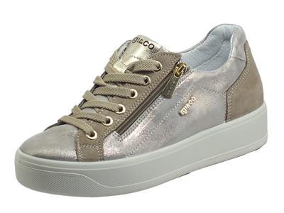 Articolo Igi&Co 7156233 Capra Perl. Nuvolato Taupe Sneakers per Donna in pelle satinata con lacci e lampo