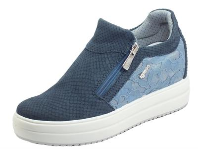 Articolo Igi&Co 7158022 Nabuk Pizzo Blue Sneakers per Donna in nabuk e pizzo con lampo