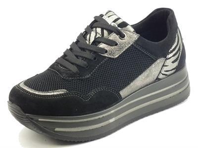 Articolo Igi&Co 8177411 Scamosciato Nero Sneakers Donna in nabuk e tessuto