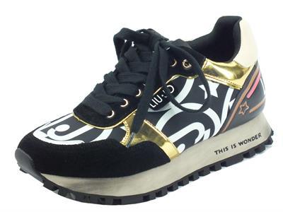 Articolo LIU JO BF1047 Wonder Black Gold Sneakers per Donna in camoscio e ecopelle zeppa bassa