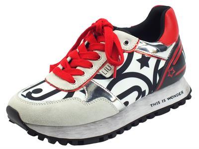 Articolo LIU JO BF1047 Wonder White Red Sneakers per Donna in camoscio e ecopelle zeppa bassa