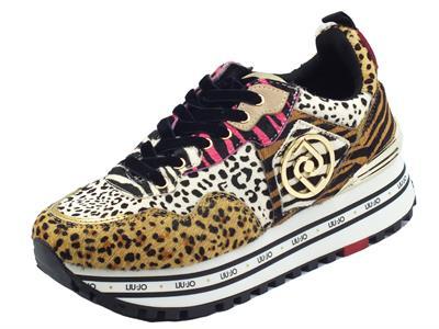Articolo LIU JO BF1051 Maxi Wonder Animalier Sneakers per Donna in cavallina leopardata  zeppa alta