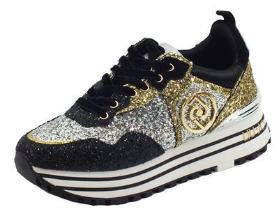 Articolo LIU JO BF1051 Maxi Wonder Black Golds Sneakers per Donna in glitter multicolore zeppa alta