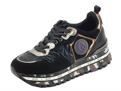 Articolo LIU JO BF1051 Maxi Wonder Black Sneakers per Donna in camoscio e tessuto zeppa alta