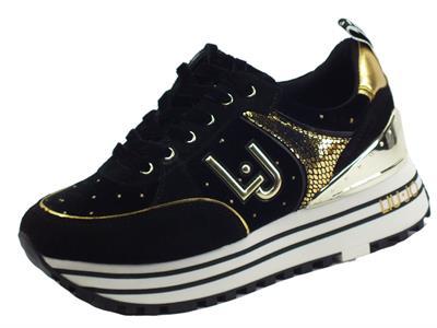 Articolo LIU JO BF1053 Maxi Wonder Black Sneakers per Donna in camoscio e tessuto nero zeppa alta